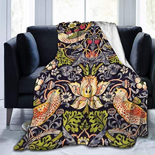 Harla Soft Fleece Blanket William Morris Strawberry Thief Floral Art Nouveau Products Home Flannel Fleece Soft Warm Plush Throw Blanket for Bed Couch Sofa Office Camping 50' x 60'