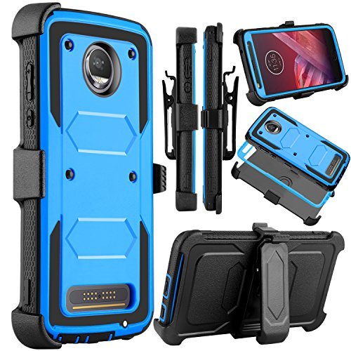 Venoro Moto Z2 Force Case, Moto Z2 Play Case, Heavy Duty Shockproof Full Body Protection Rugged Hybrid Case Cover with Swivel Belt Clip and Kickstand for Motorola Z Force 2017 (Blue)