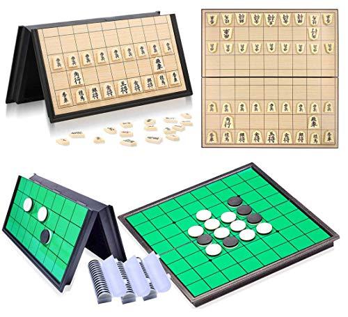 将棋リバーシ ボードゲーム セット 知育玩具 子供 おもちゃ 家族 親子 マグネット式 ゲーム 折りたたみ 収納 盤上遊戯 二つセットマグネット式 棋盤 折りたたみ収納付きチェッカーボード