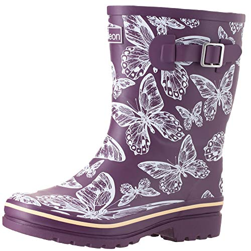 Jileon Mid Calf Rain Boots   Specially Designed For Wide Feet, Ankles & Calves   Half Height Wide Calf Rain Boots for Plus Size Women   100% Waterproof Wide Calf Rain Boots - Mid Calf