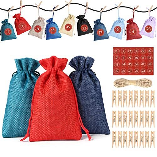 JOYUE Calendario de Adviento para Llenar, Bolsas de Regalo Navidad con 24 Adviento Pegatinas, Saquitos de Navidad, Bolsa de Yute, Bolsas de Calendario de Cuenta Regresiva de Navidad 2020 (24 Colores)
