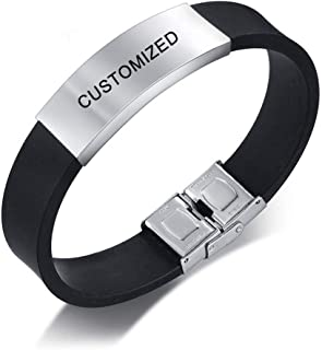 LiFashion LF Mens Stainless Steel Silicone Wristband Personalized Nameplates Date Love Cusomised Cuff Bracelet Bangle for Boyfriend Husband Son for Birthday, Free Engraving Customized