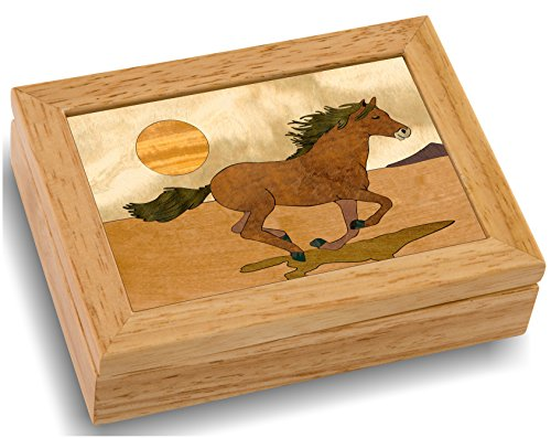 Horse Wood Art Trinket Jewelry Box & Gift - Handmade USA - Unmatched Quality - Unique, No Two are the Same - Original Work of Wood Art. (#4119 Mustang 4x5x1.5)