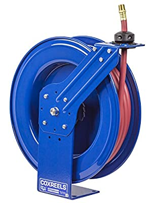 "Coxreels SH-N-160 Low Pressure Spring Rewind Hose Reel with Super Hub: 1/4"" I.D, 60' hose capacity, with hose, 300 PSI"