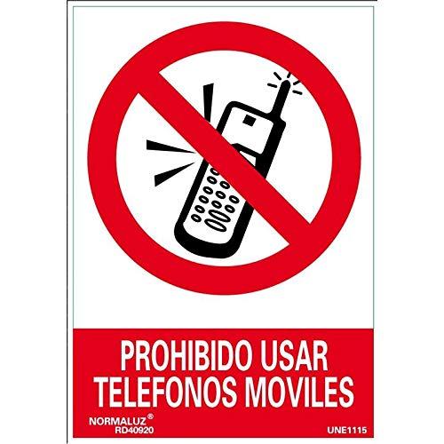 Normaluz RD40020 - Señal Prohibido Usar Telefonos Móviles PVC Glasspack 0,7 mm 21x30 cm