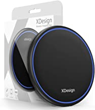 XDesign 10W Wireless Charger Compatible iPhone XS MAX, iPhone XS, iPhone XR, iPhone X, iPhone 8 8 Plus/ Galaxy S10 5G/Galaxy S9 S8 S8+ /Note 9 8, Qi-Certified Station Anti-Slip Base [No AC Adapter]
