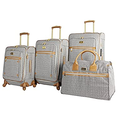 Nicole Miller New York Taylor Set of 4: Box Bag, 20 , 24 , 28  Expandable Spinner Luggages (Black/White Plaid)