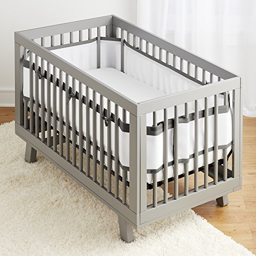 BreathableBaby Deluxe Patented, Safer for Baby, Anti-Bumper, Non-Padded, Breathable Mesh Crib Liner – White and Charcoal Linen Trim