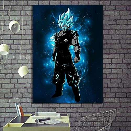 Anime Poster Dragon Ball Super Goku Canvas Pictures Decorative Paintings for Wall Decor (16x24inch)
