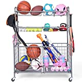 Kinghouse Garage Sports Equipment Organizer, Sports Equipment Storage for Garage with Baskets and Hooks, Rolling Basketball Racks for Balls with Wheels, Outdoor Toy Storage, Grey, Powder Coated Steel