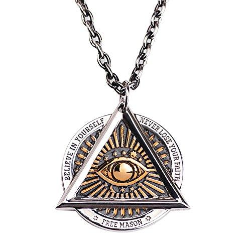 FORFOX Collar Colgante Masónico Illuminati el Ojo Que Todo lo ve Dorado de Acero Titanio para Hombres Mujers 27 Pulgadas Cadena