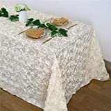 Ivory Rosette Tablecloth Wedding Decoration 50x80Inch Rosette Satin Tablecloth 3D Flower Table Cloth for Wedding Baby Shower Home Party Cake Table Decoration
