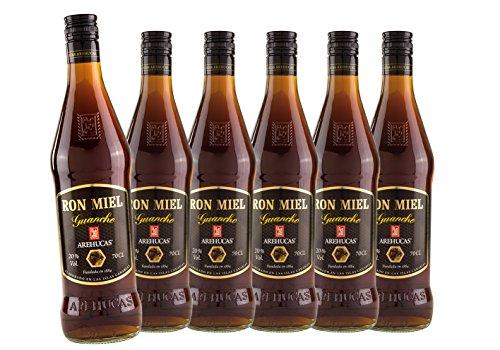 Ron Arehucas Miel -Rum-Likör mit Honig aus den Kanarischen Inseln - 6er Sparpack 6 x 700 ml