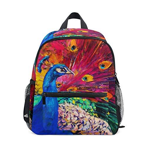 Pittura Pavone Colorato Zaino per Asilo Nido Prescolare Bambini Studente Bookbag Zainetti per Viaggio Ragazze Ragazzi 2-7 Anni Capretto