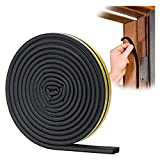 YOUSHARES Door Weather Stripping - Self Adhesive Foam Seal Strip Weatherstripping for Doors Frame and Windows Gaps, Weatherstrip Anti-Collision D Type Door Seal Strip 20 Feet (Black)