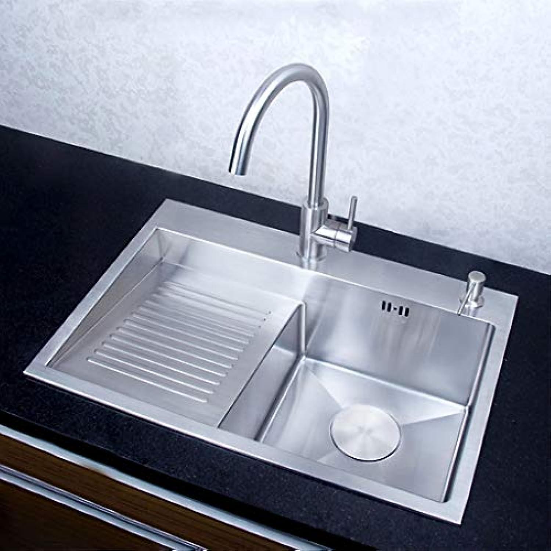 Küchenspüle Edelstahl fertig gebürstet Einzelspüle Küche über Theke oder Unterbau mit Wasserhahn Küchenspülen Küchenspülen 0615