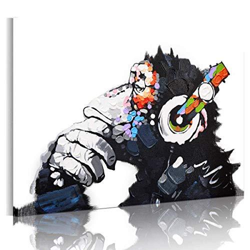 RAIN QUEEN 75X50cm Impression sur Toile Grand Format Le Gorille Aime Musique 1 Partie Décoration Chambre Wall Art