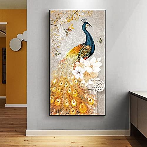 Dreamy Gold Peacock Hermosas alas de plumas Pájaro sagrado Fénix Lienzo Pintura Arte de la pared Póster Porche Entrada Sala de estar Oficina Estudio Decoración para el hogar Mural