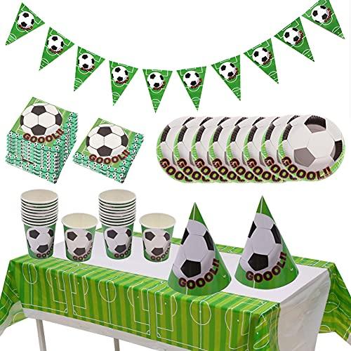 Set di posate da calcio verde, decorazione da tavola per feste di compleanno per bambini a tema, set di posate per tovaglia con piatto di carta (48PCS)