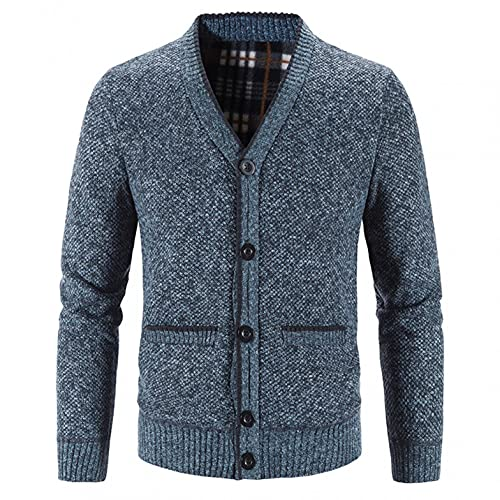 Maryia Casual Knit Wool Blend Fleece Cardigan Jackets for Men Relax Fit Zip Up Long Sleeve Winter Thermal Sweater