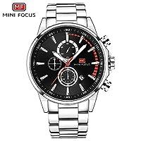 QTMIAO 美しいmini focus時計 MINI FOCUS / MF0085Gメンズクォーツ腕時計3つのスモールプレートデイト表示スチールストラップウォッチ (Color : 1)