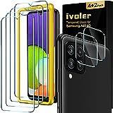 ivoler 4 Unidades Protector de Pantalla Compatible con Samsung Galaxy A22 4G / M32 4G / M22 con [2 Unidades] Protector de Lente de Cámara y Marco de Instalación Fácil, Cristal Vidrio Templado Premium