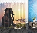 LB Elefant Duschvorhang Tier sitzt am Meer Gemustert Polyester Stoff Extra lang Badevorhänge Wasserdicht antischimmel Badezimmer Dekor Heimzubehör mit Vorhanghaken,180X180cm