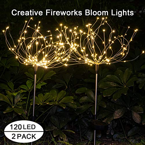 Outdoor Solar Garden Decorative Lights-Mopha Solar 120LED Powered 40Copper Wiress Stake String Landscape Light-DIY Flowers Fireworks Christmas Party Decor (Warm White(Upgraded 2 Pack))