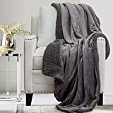 The Connecticut Home Company Soft Fluffy Warm Velvet and Sherpa Throw Blanket, Luxury Thick Fuzzy Blankets for Home and Bedroom Décor, Comfy Washable Accent Throws for Sofa Beds, Couch, 65x50, Gray
