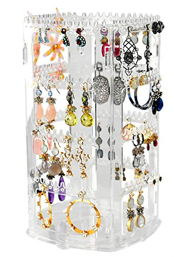 "Home-X Clear Jewelry Organizer Stand, Rotating Earring Organizer, Holds 84 Pair of Earrings, Jewelry Display Rack for Earrings and Necklaces, 11 ½' L x 6 ½"" W x 6 ½"" H, Clear"