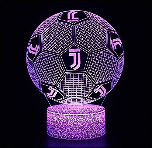 giyiohok 3d illuminazione notturna illusione di calcio Juventus FC Intelligente 7 colori Crack Base Lampada da tavolo a LED Compleanno per bambini Regalo del tifoso