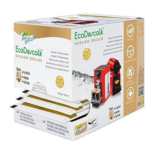 EcoDescalk Biologico in Polvere, 10 Sacchetti. Decalcificante 100% Naturale. Detergente per Macchine da caffè. Tutte Le Marche. 10 Decalcificazioni.