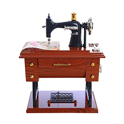 NIHAI Vintage Music Box - Artificial Mini Sewing Machine Style Wood Grain Mechanical Music Box Personalizable Gift Table Decor for Birthday Valentine's Day Christmas,Best Gift for Kids,Friends