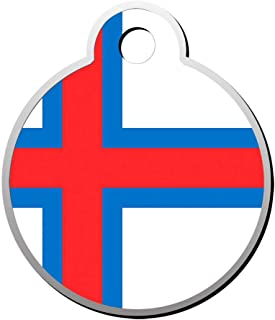Mhmkrot Faroe Islands Flag Dog Tag Pet ID Tags Cat Tags Round Shaped Zinc Alloy Identity Pendant Trendy Funny Double Sided Printed - DIY Custom