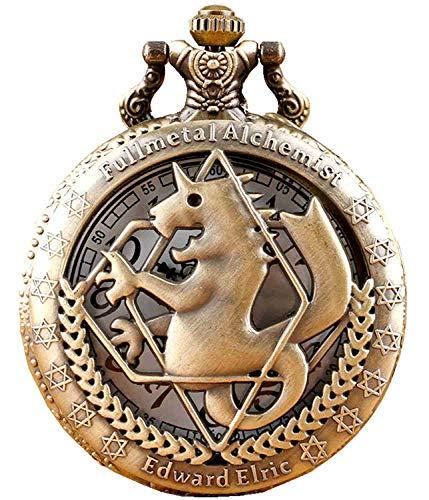 Relógio com bolso de quartzo com corrente e acessórios para cosplay de anime alquimista Fullmetal, Bronze, m