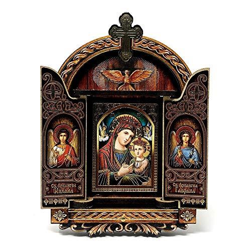 Inmaculada Romero IR Imagen Icono 11Cm. Virgen María Niño Jesús Perfil Ángeles Marco Puertas Madera Pintada Fondo Azul
