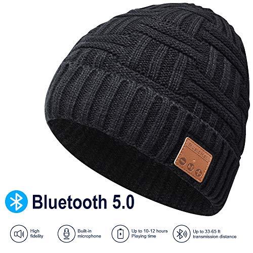 Bluetooth Beanie Hat, 5.0 Cappello Bluetooth, Cuffie a Cuffia wireless con Altoparlanti Stereo HD e MIC Incorporato, Lavabile Running Hat per Uomo Regali, Elettronici Regali di Natale per donna/uomo