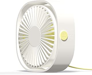 Simpeak Mini USB Desk Fan Cooling Quiet Portable White USB Powered ONLY (No Battery), 3 Speed Setting 360° Adjustable Swiv...