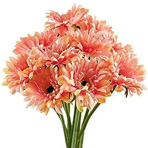 Silk Flower Arrangements FiveSeasonStuff Gerbera Daisy, Outdoor Artificial Silk Flowers Arrangement & Wedding Bouquet (10 Floral Stems, Tangy Orange)