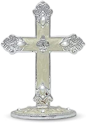 BANBERRY DESIGNS Metal Cross Jeweled and Enameled Accents Desktop Centerpiece Gift for Baptism in Loving Memory Sympathy Bereavement - 4 Inch
