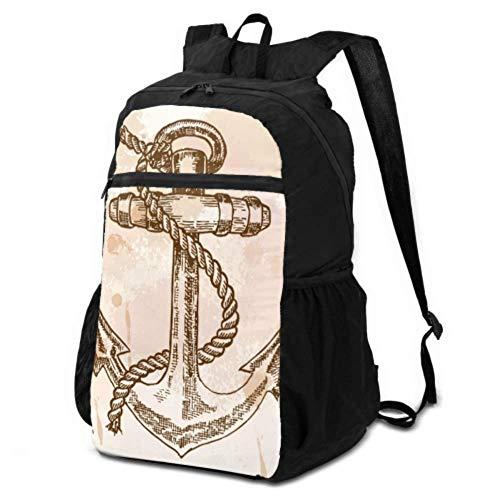 Reise- und Wanderrucksack, mit Anker-Motiv, faltbar, leicht, wasserdicht, für Damen und Herren