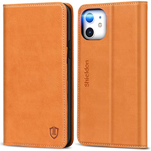 """SHIELDON Genuine Leather Wallet Case Magnetic RFID Blocking Card Slots Kickstand Shockproof Carry-All Case Compatible with iPhone 12/12 Pro 5G (6.1"""") - Light Brown"""