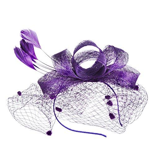 Heqianqian Chapeau Fascinant Femmes Mesh Net Fleur Pillbox Pince À Cheveux Fascinator Chapeau pour Mariage Cocktail Fleur Pince À Cheveux Pince à Chev