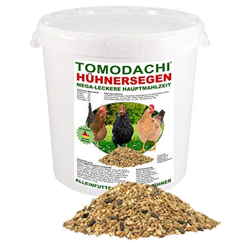 Hühnerfutter, Naturprodukt, hochwertiges Vollwertfutter für Geflügel, calziumreiche Komplettnahrung für alle Hühnerrassen, reich an Omega-3 Fettsäuren, natürlicher Immunschutz, Qualitäts Körnermischung für gesunde, glückliche Hühner, Tomodachi Hühnersegen 1kg Eimer - 4