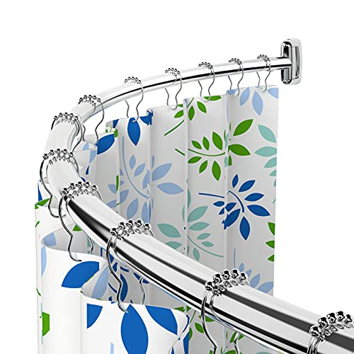 Curved Shower Rod, 45-75 Inch Rust-Proof Curved Shower Curtain Rod for Bathroom, Adjustable, Stainless Steel, Heavy Duty, Extra Space, Need to Drill, Chrome