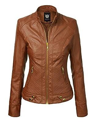Lock and Love WJC747 Womens Dressy Vegan Leather Biker Jacket L Camel