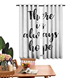 Bedroom Curtains There is Always Hope Hand Lettering Style Illustration Inspirational Vintage,Balance Room Temperature W72 x L84