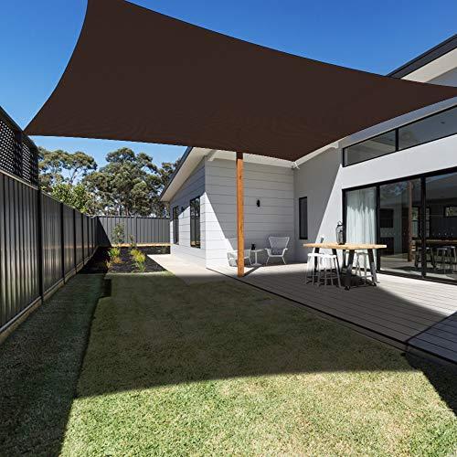 Ankuka Sun Shade Sail Canopy Rectangle UV Block for Outdoor Patio and Garden, Yard Activities (10'X10', Brown)