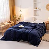 Extra Large Blanket 120 x 120 Inches Lightweight Soft Smooth Big Navy Flannel Blanket 10' x 10' for Bed
