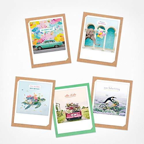 PICKMOTION Set mit 5 Foto-Gruß-Karten mit Umschlag Grüße & Wünsche, Instagram-Fotografen-Geburtstag-Karten, handgemachte Klappkarten, lustige Sprüche & Motive, Tiere, Blumen, BKK-0106